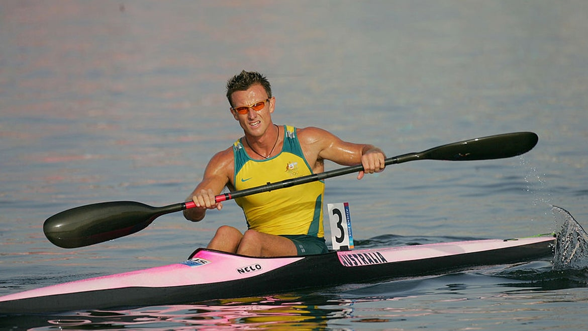 Nathan Baggaley of Australia competes during the men's K-1 class 500 metre heat on August 24, 2004 during the Athens 2004 Summer Olympic Games at the Schinias Olympic Rowing and Canoeing Centre in Athens, Greece.
