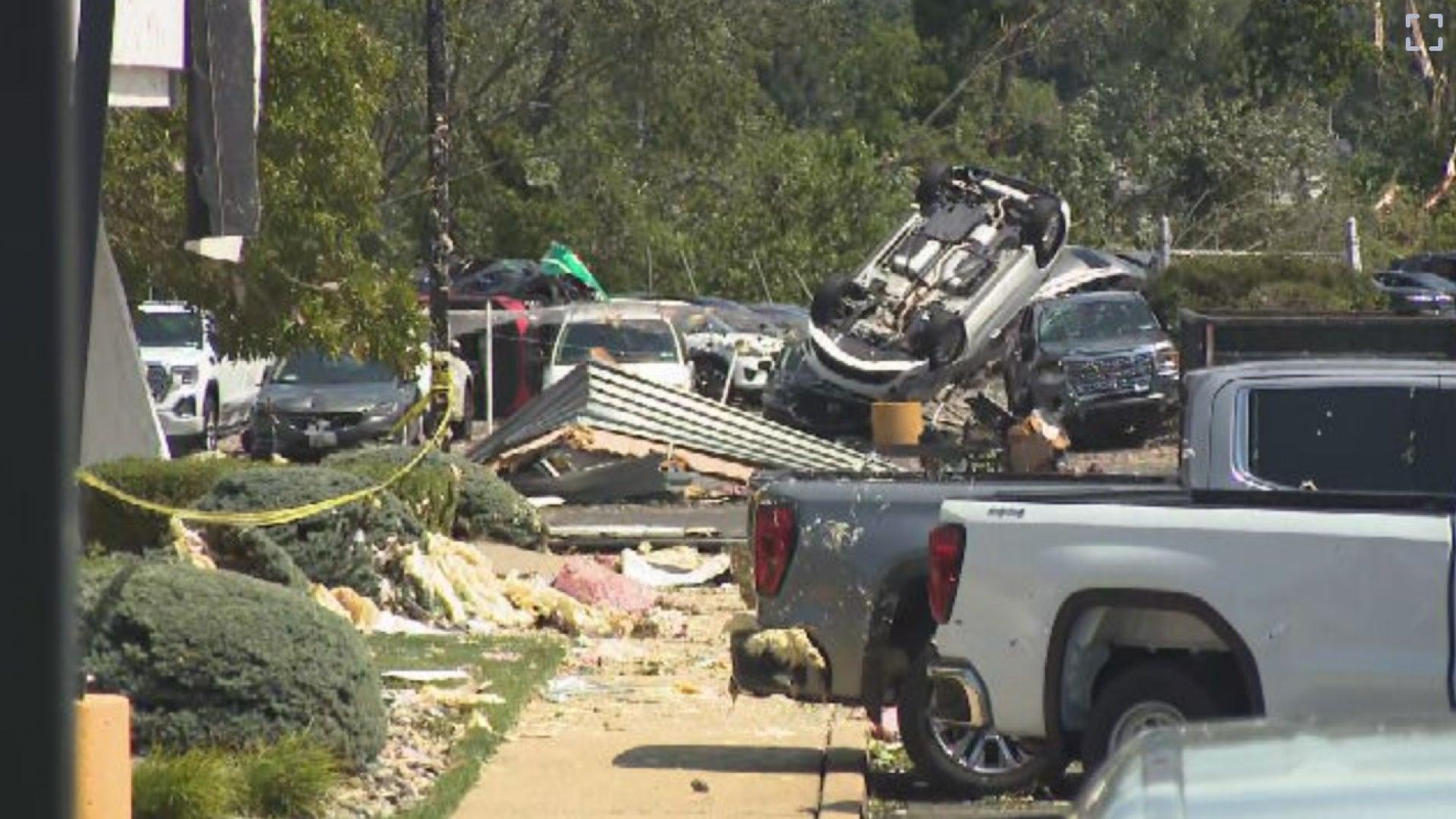Tornado's Path of Destruction Captured on Camera Inside a Car Dealership
