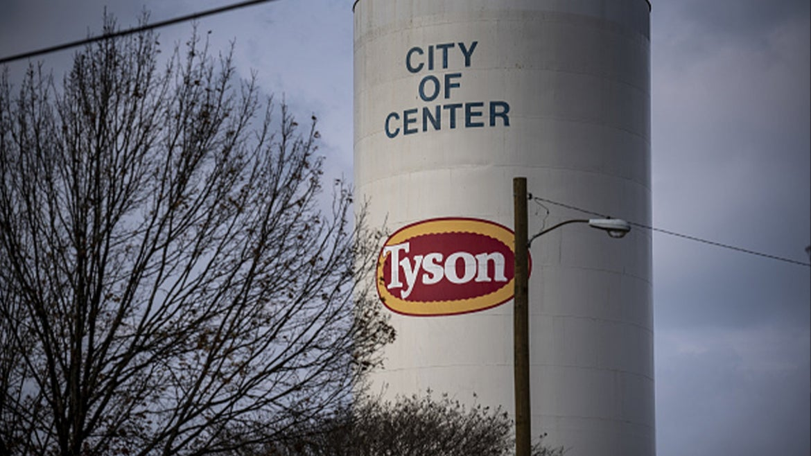 Signage is displayed outside a Tyson Foods Inc. processing plant in Center, Texas, U.S., on Monday, Dec. 9, 2019.