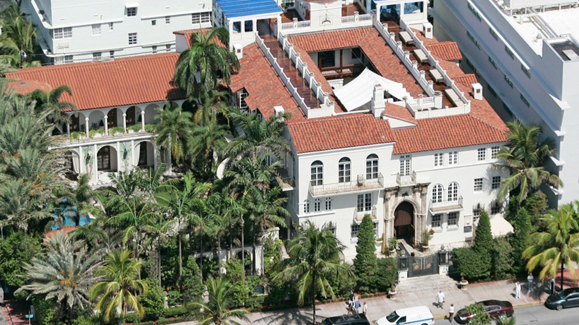 The mansion of the late fashion icon Gianna Versace in South Beach, Florida.