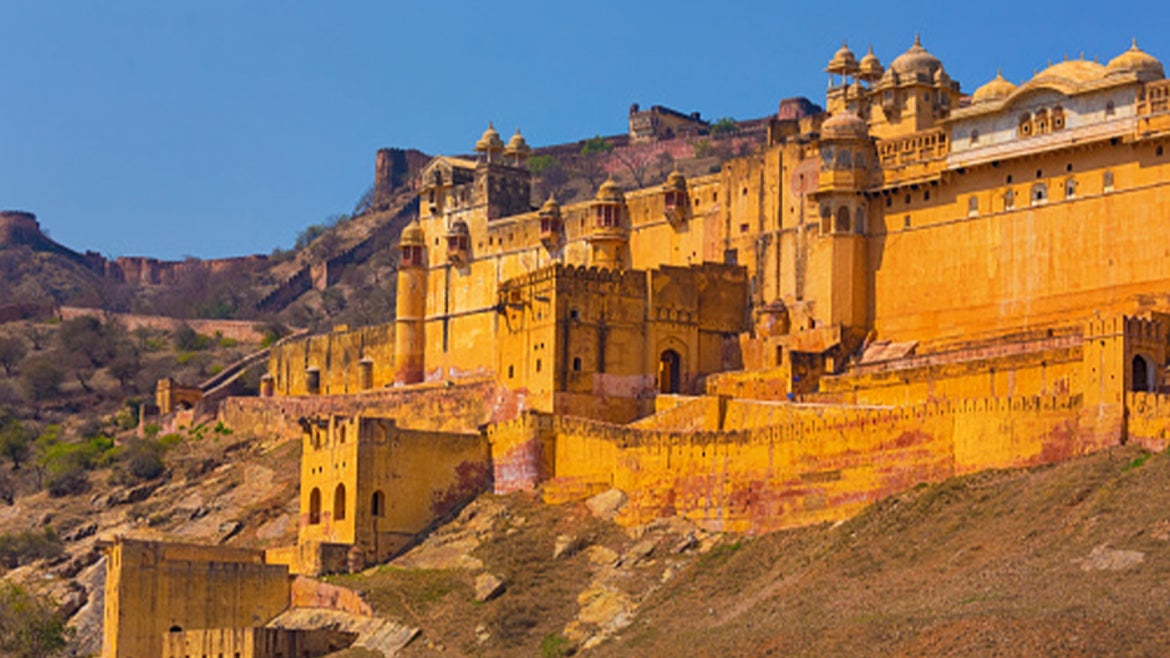 A stock photo of Amer Fort /Amber Fort at Amber near Jaipur, Rajasthan, India.