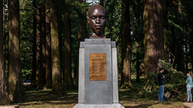 The statue of York at Mt. Tabor, Portland, Oregon.