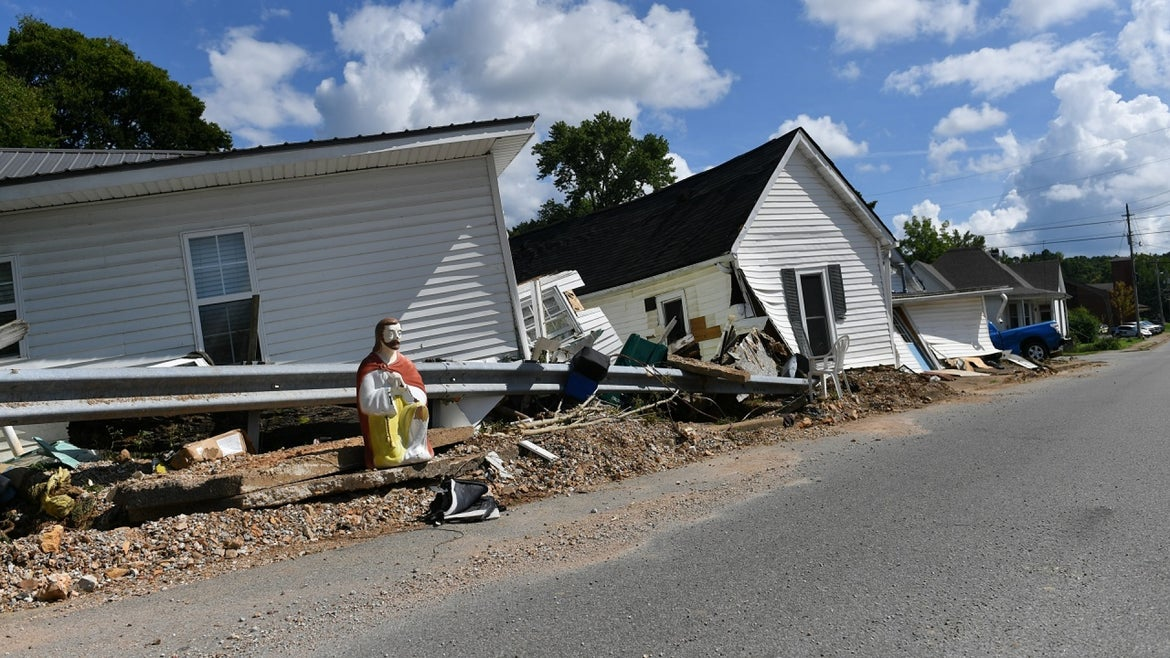 Damaged homes from Tennessee flash flooding.