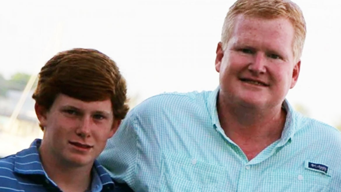 Paul Murdaugh and his dad Alex Murdaugh appear in a family photo before he and his mom were killed in a mystery double-homicide in June.