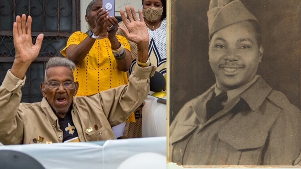 Lawrence Brooks, oldest Living WWII vet celebrates turning 112; a photo of Brooks when he was serving in the U.S. Army