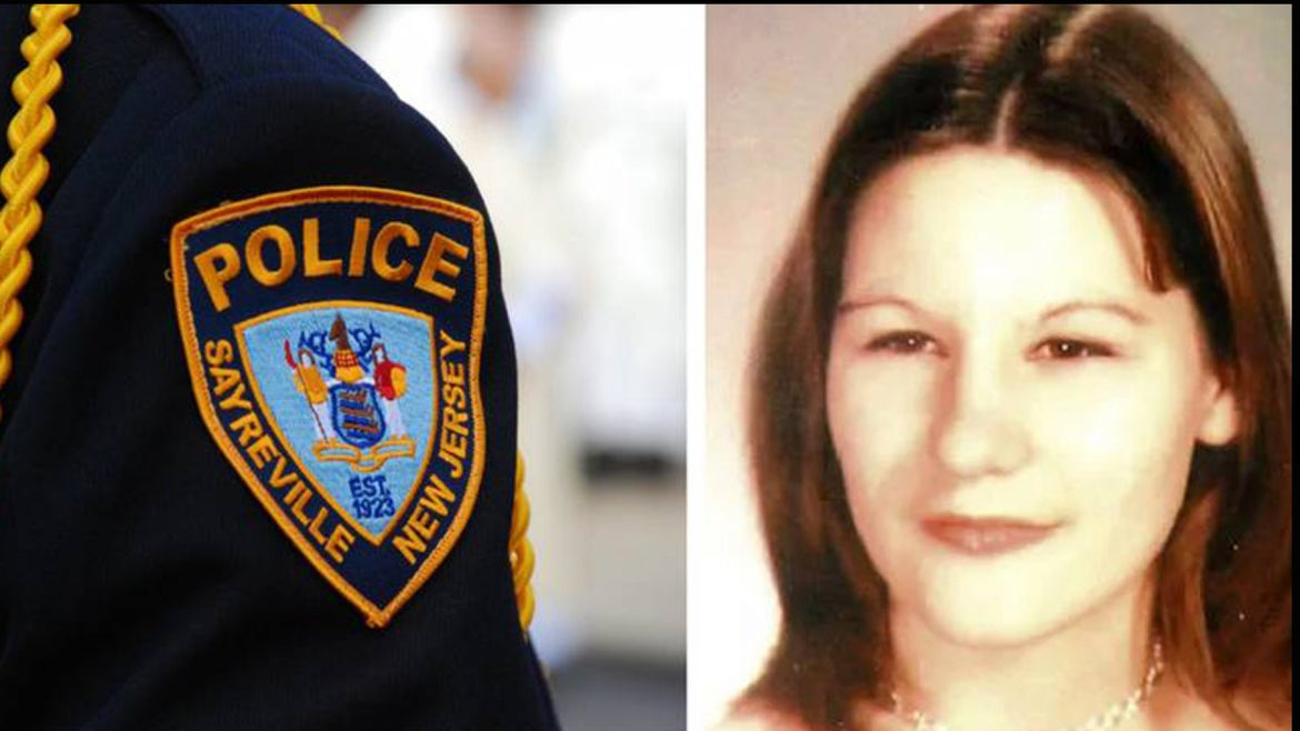 Sayreville police badge side by side with high school photo of the late Noga