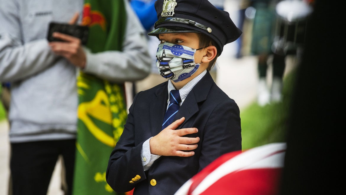 """Gavin Roberts of Glen Ridge, New Jersey, attended the funeral of his father Charles """"Rob"""" Roberts last year."""