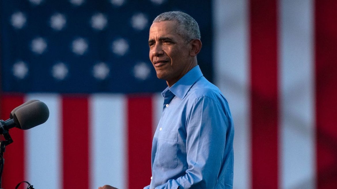 Former US President Barack Obama arrives to address Biden-Harris supporters during a drive-in rally in Philadelphia, Pennsylvania on October 21, 2020