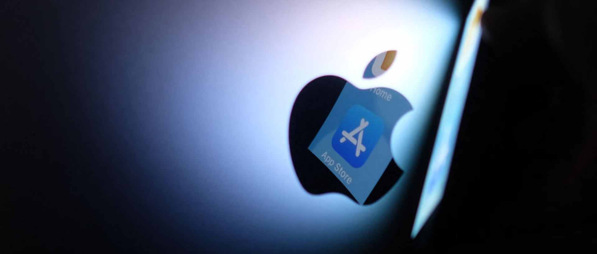 Apple logo with app store icon