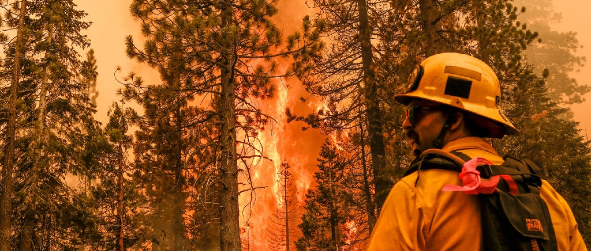 Firefighter standing in front of fire in Lake Tahoe