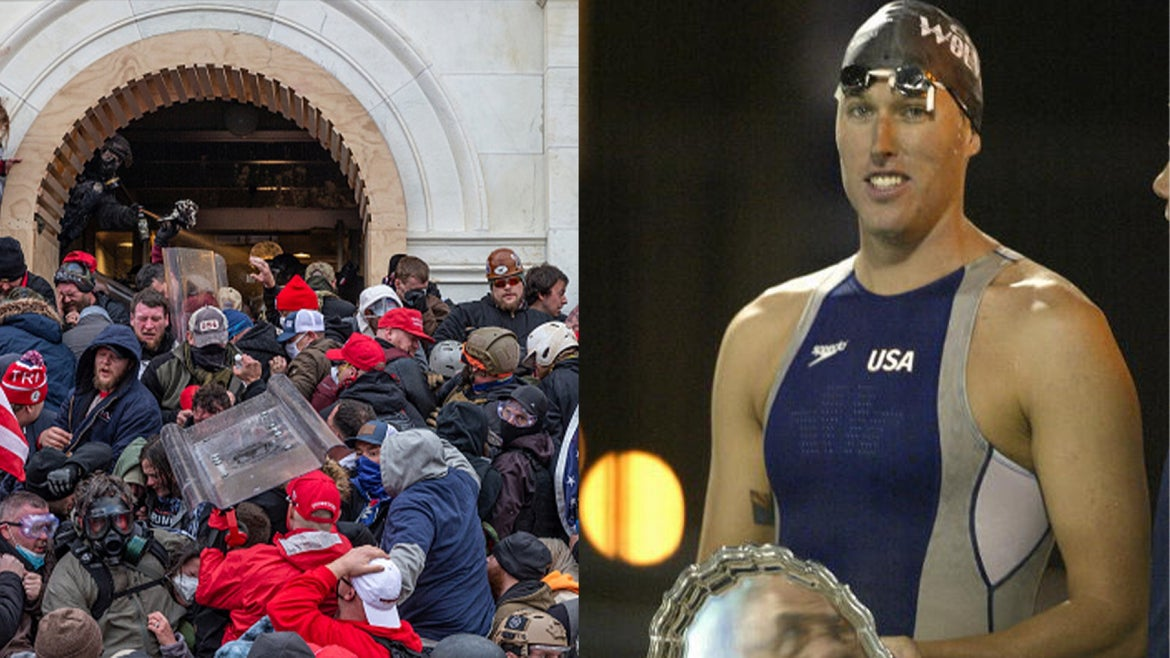 Photo of the violent mob during the Jan. 6 Capitol riot/USA Olympian Klete Keller