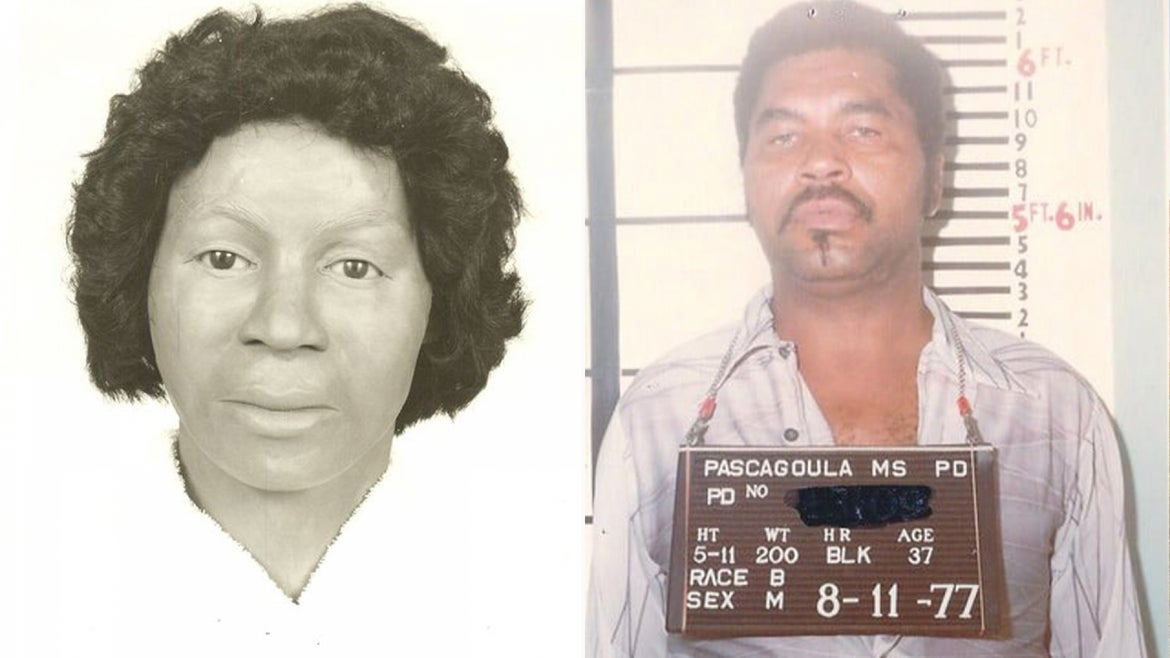 A composite sketch of what Clara Birdlong may have looked like, and serial killer, Samuel Little.