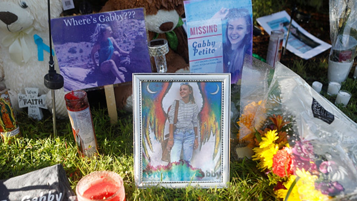 A makeshift memorial created for Gabby Petito, 22.