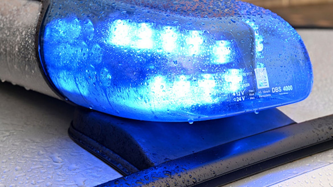 A stock image of police lights.