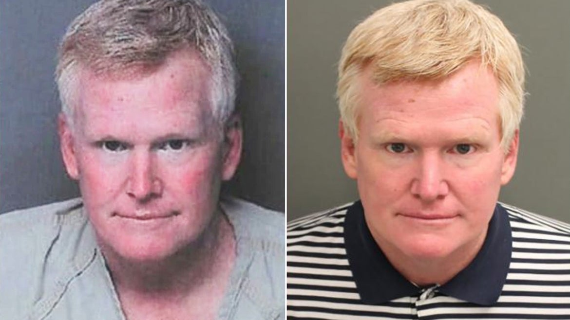 Alex Murdaugh appears in two mug shots. The first, left, when he turned himself into South Carolina authorities in September, and the second, right, when he was arrested upon release from an Orlando, Florida drug rehabilitation facility.