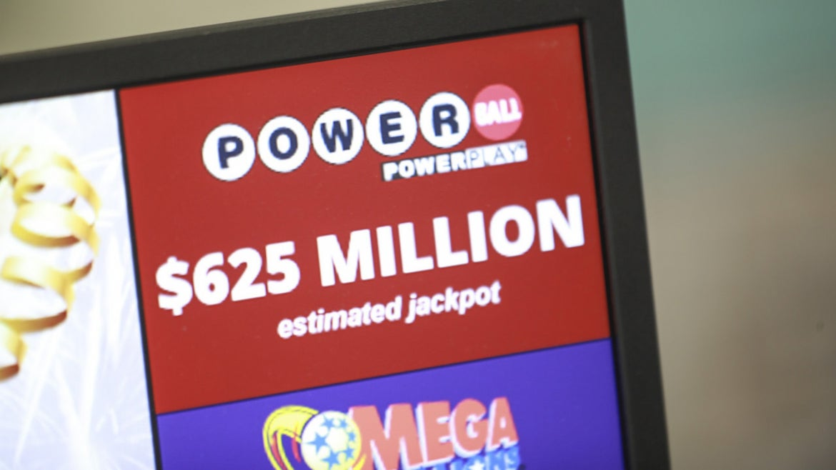 The Powerball jackpot displayed at The Hub on Broadway on Friday, March 22, 2019 in Boston, Massachusetts