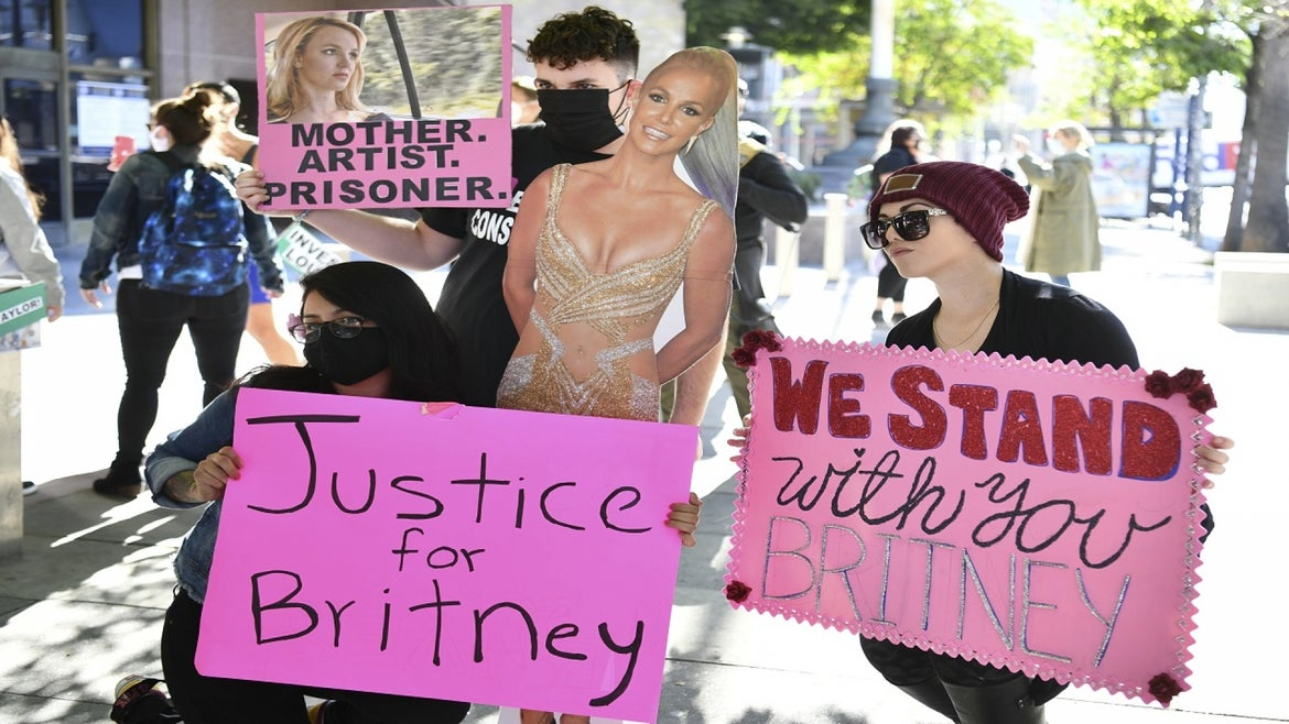 Britney Spears supporters outside Los Angeles courthouse.