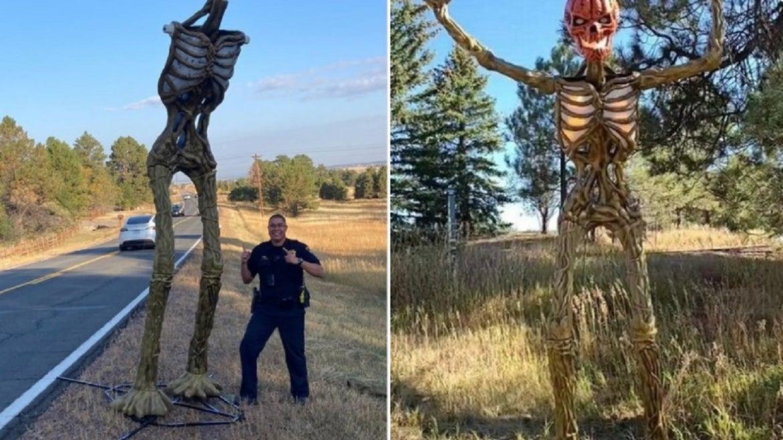 Halloween skeleton loses its head.
