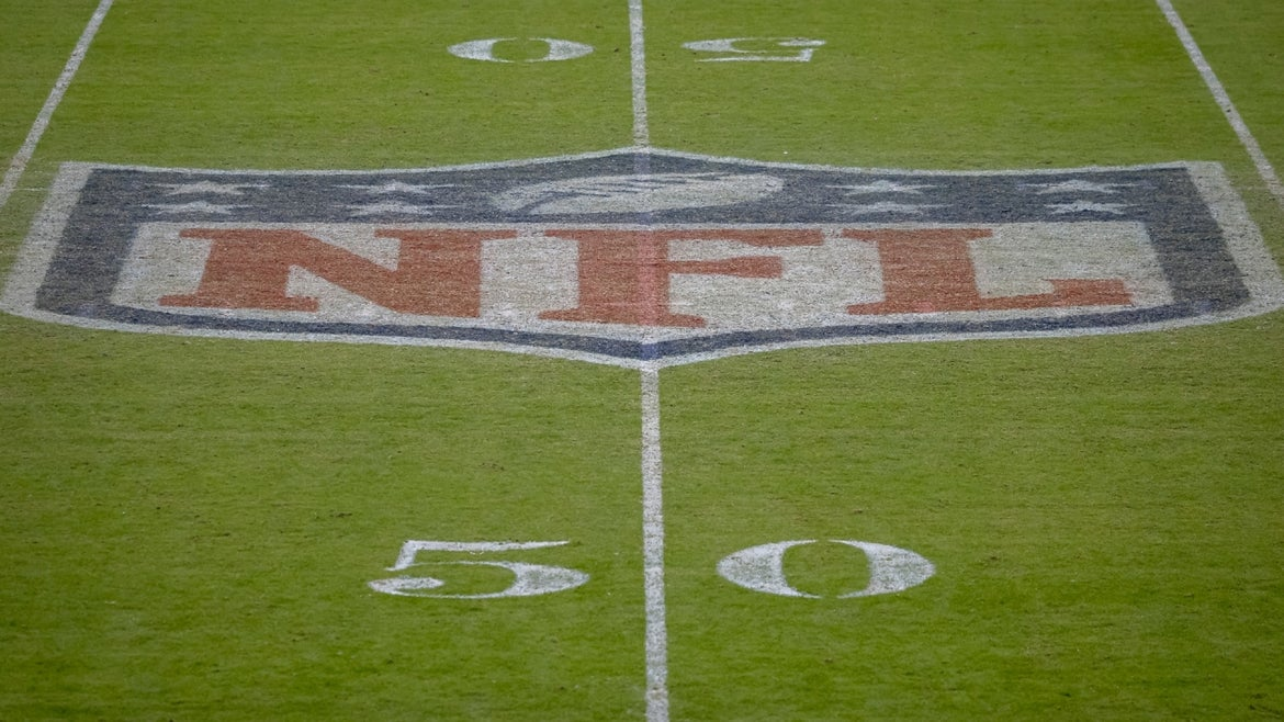 A detailed view of the NFL logo on the field after the game between the Washington Football Team and the Dallas Cowboys at FedExField on October 25, 2020 in Landover, Maryland.
